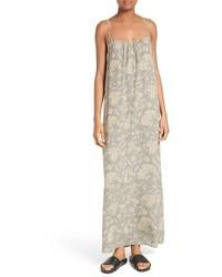 Vestido de seda con print de flores marrón claro de Vince