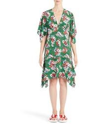 Vestido de Seda con print de flores Verde de MSGM