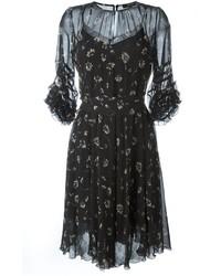Vestido de seda estampado negro de Etro