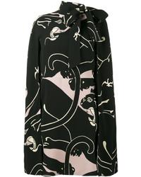 Vestido de seda estampado negro de Valentino