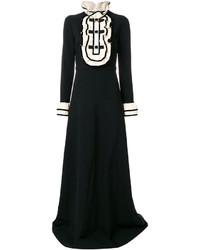 Vestido de terciopelo con volante negro de Gucci
