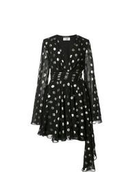 Vestido de vuelo a lunares negro de Saint Laurent