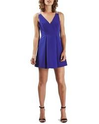 Vestido de vuelo azul de Topshop