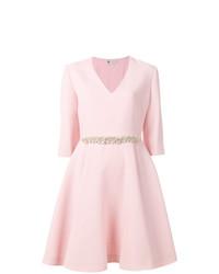 Vestido de vuelo con adornos rosado de Lanvin