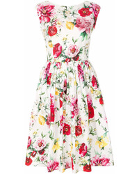 Vestido de vuelo con print de flores blanco de Dolce & Gabbana