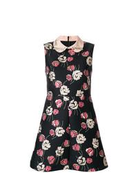 Vestido de vuelo con print de flores negro de RED Valentino
