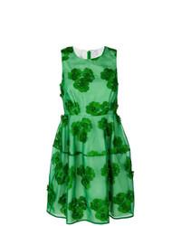 Vestido de vuelo con print de flores verde de P.A.R.O.S.H.