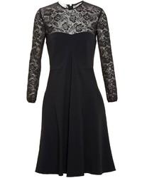 Vestido de vuelo de encaje negro de Stella McCartney