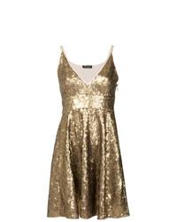 Vestido de vuelo de lentejuelas dorado de Twin-Set