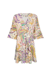 Vestido de vuelo de paisley en multicolor de Etro