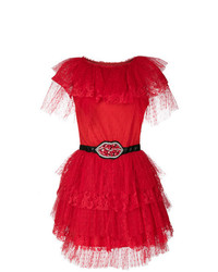 Vestido de vuelo de tul rojo de MSGM