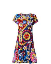 Vestido de vuelo estampado en multicolor de Love Moschino