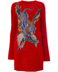 Vestido jersey bordado rojo de Balmain