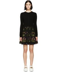 Vestido jersey con print de flores negro de Valentino