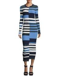 Vestido jersey de rayas horizontales azul marino