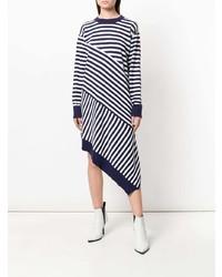 Vestido jersey de rayas horizontales en blanco y azul marino de MM6 MAISON MARGIELA