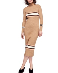 Vestido jersey de rayas horizontales marrón claro