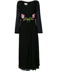 Vestido largo bordado negro de Gucci