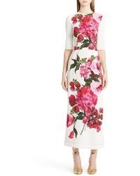 Vestido largo con print de flores blanco de Dolce & Gabbana