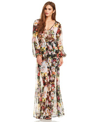 Vestido largo con print de flores en multicolor