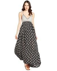 Vestido largo con print de flores en negro y blanco