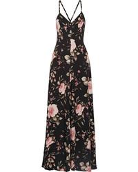Vestido largo con print de flores negro de Alice + Olivia