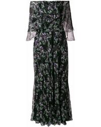 Vestido largo con print de flores negro de Blumarine