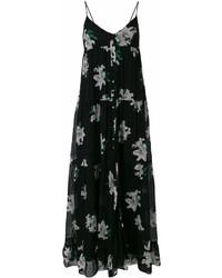 Vestido largo con print de flores negro de Dondup