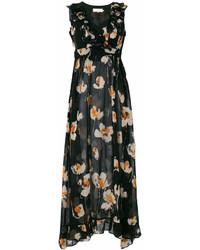 Vestido largo con print de flores negro de L'Autre Chose