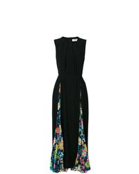 Vestido largo con print de flores negro de MSGM