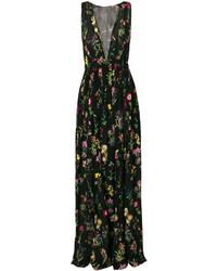 Vestido largo con print de flores negro de No.21