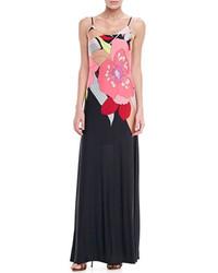 Vestido largo con print de flores negro de Trina Turk