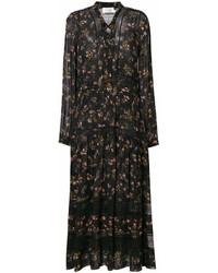 Vestido largo con print de flores negro de Zimmermann