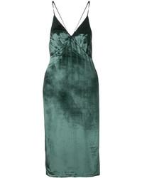 Vestido largo con recorte verde oscuro