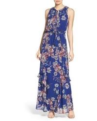 Vestido Largo de Flores Azul de Greylin