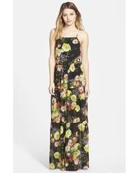 Vestido Largo De Gasa Con Print De Flores Negro De June Hudson