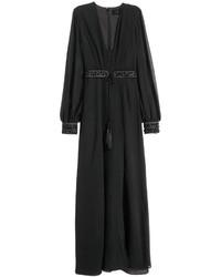 Vestido largo de gasa negro