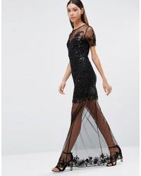 Vestido largo de lentejuelas con print de flores negro