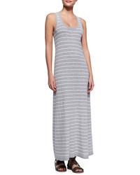 Vestido largo de rayas horizontales gris