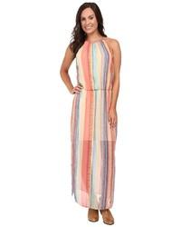 Vestido largo de rayas verticales en multicolor