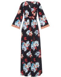 Vestido largo de seda con print de flores negro