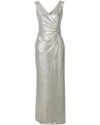 Vestido largo plateado de Ralph Lauren