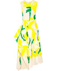 Vestido midi con print de flores amarillo