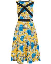 Vestido midi con print de flores amarillo de Marc by Marc Jacobs