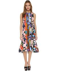 Vestido midi con print de flores en multicolor