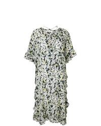 Vestido midi con print de flores en negro y blanco de See by Chloe