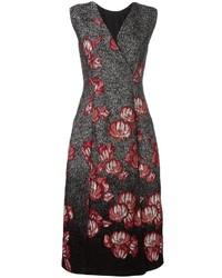 Vestido midi con print de flores negro de Alberta Ferretti