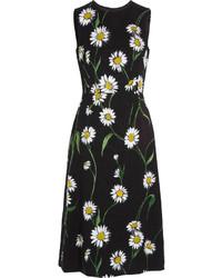 Vestido midi con print de flores negro de Dolce & Gabbana