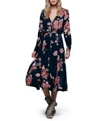 Vestido midi con print de flores negro de Free People