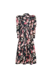 Vestido midi con print de flores negro de Jill Stuart